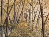 Herbst, Sempachersee, Aquarellmalerei, Schilf