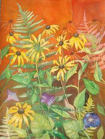 Gelb, Orange, Aquarellmalerei, Rudbeckia