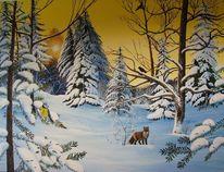 Winter, Tanne, Acrylmalerei, Wald