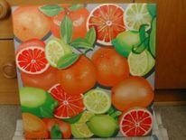 Malerei, Zitrusfrüchte, Stillleben, Orange
