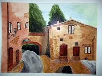 Landschaft, Malerei, Toskana, Tusche