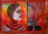 Figural, Dorf, Afrika, Ölmalerei