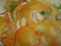 Massai, Ethnologie, Figural, Aquarellmalerei