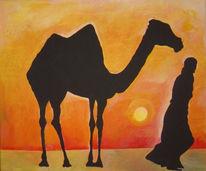 Aquarellmalerei, Massai, Ethnologie, Einsamkeit