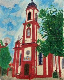 Gebäude, Kirche, Malerei, Landschaft