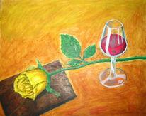 Malerei, Stillleben, Weinglas, Rose