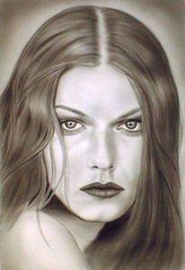 Blick, Grafik, Freihand, Portrait
