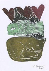 Herz, Katze, Linolschnitt, Fisch