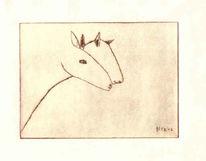 Petrus, Akkordeon, Kaltnadelradierung, Pferde