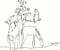 Federzeichnung, Akkordeon, Petrus, Pferde