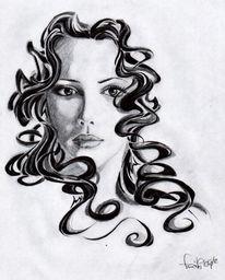Zeichnung, Portrait, Zeichnungen, Girls
