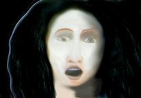 Portrait, Zeichnung, Schwarz, Frau