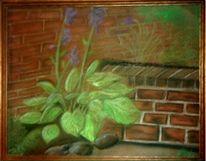 Zeichnung, Stillleben, Blumen, Mauer