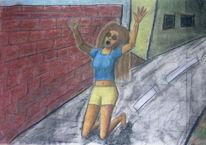 Frau, Mauer, Zeichnung, Schreien