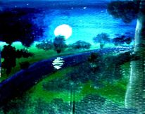 Mond, Landschaft, Malerei