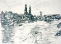 Dom, Zeichnung, Boot, Regensburg