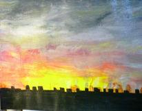 Sonnenuntergang, Regensburg, Wolken, Landschaft