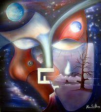 Surreal, Maske, Malerei,