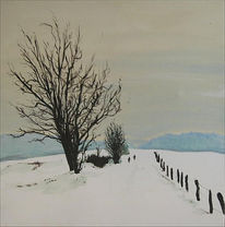 Malerei, Winter, Eifel
