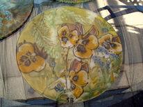 Glas, Stiefmütterchen, Blumen, Natur