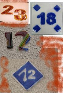 Gegenstände, Glas, Hausnummern, Haus