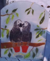 Wandbeschriftung, Glas, Papagei, Popart