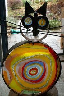 Glas, Katze, Wandbeschriftung, Kunsthandwerk