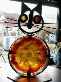 Katze, Metall, Glas, Kunsthandwerk