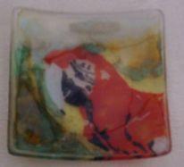 Papagei, Wandbeschriftung, Glas, Fusing