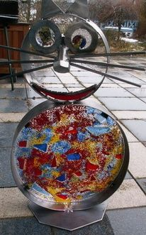 Glas, Katze, Metall, Kunsthandwerk