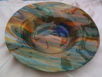 Schale, Vulkan, Glas, Wandbeschriftung