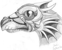 Drache, Fantasie, Zeichnung, Bleistiftzeichnung