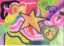 Malerei, Stern, Bunt, Abstrakt