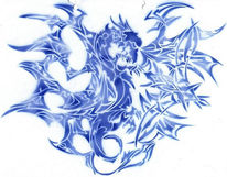 Drache, Airbrush, Blau, Grafik