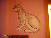 Kunsthandwerk, Katze, Wand, Farben