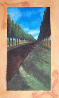 Landschaft, Malerei, Baum, Allee