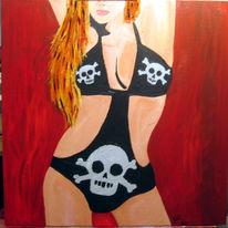 Barbie, Rot schwarz, Malerei, Frau