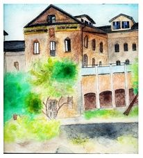 Malerei, Haus, Spanien, Süden