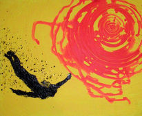 Acrylmalerei, Tropfen, Tusche, Sonne