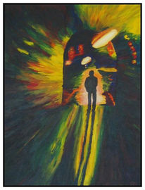Tunnel, Dunkel, Treffen, Malerei