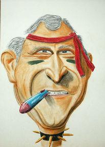 Karikatur, Malerei, Figural, Busch