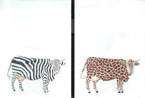 Kuh, Tierwelt, Malerei, Figural