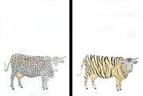 Kuh, Malerei, Tierwelt, Figural