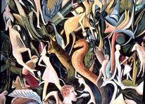 Wald, Fantastisch, Menschen, Ölmalerei