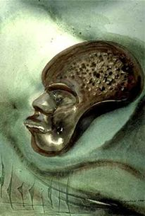 Afrikanische maske, Surrealistisch, Aquarellmalerei, Afrika
