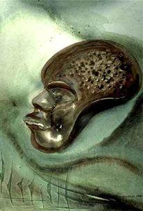 Afrikanische maske, Aquarellmalerei, Surrealistisch, Maske