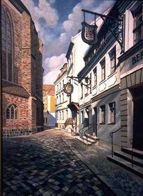 Stadtarchitektur, Kirche, Realismus, Temperamalerei