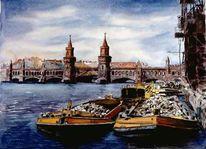 Fluss, Mittelalter, Verkehrsmittel, Krananlagen
