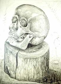 Vanitas, Realismus, Knochen, Bleistiftzeichnung