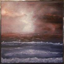 Ölmalerei, Mer, Wellen wave, Brouillard